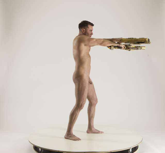 Man Adult Muscular White Standing poses Underwear Fighting with shotgun