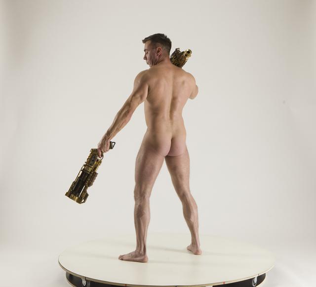 Man Adult Muscular White Standing poses Underwear Fighting with shotgun