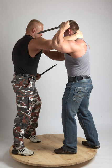 Adult Muscular White Fighting with sword Fight Casual Men