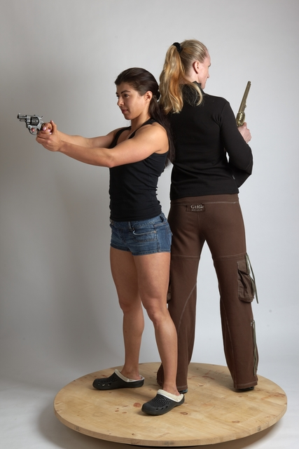 Adult Average White Fighting with gun Standing poses Casual Women