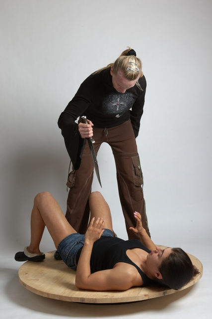 Adult Average Fist fight Laying poses Women