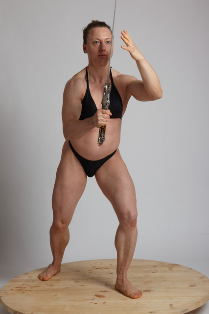 Woman Adult Muscular White Fighting with sword Standing poses Underwear