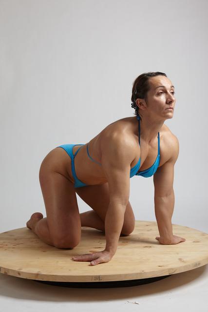 Woman Adult Muscular White Neutral Kneeling poses Underwear