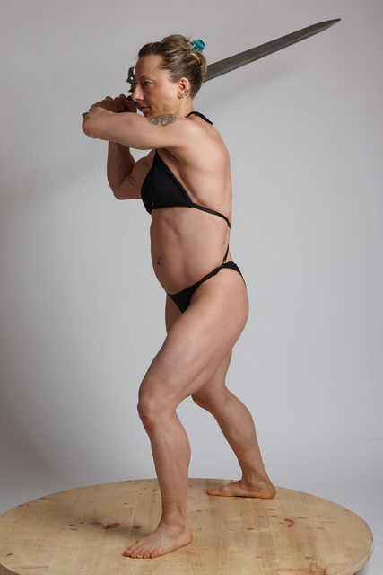 Woman Adult Muscular White Fighting with sword Fight Underwear