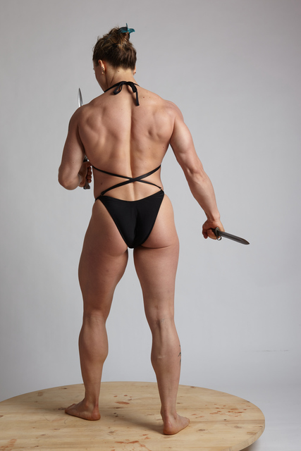 Woman Adult Muscular White Fighting with knife Standing poses Underwear