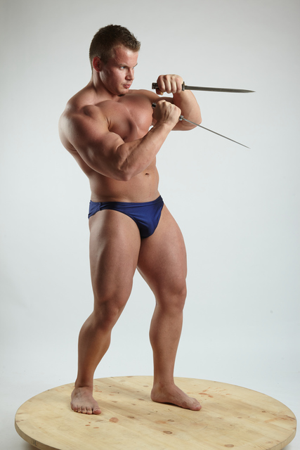 Man Adult Muscular White Fighting with sword Fight Underwear