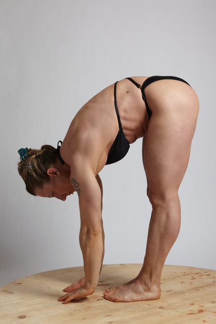 Woman Adult Muscular White Fitness poses Crouching Underwear