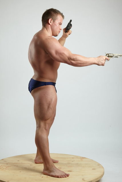 Man Adult Muscular White Fighting with gun Fight Underwear