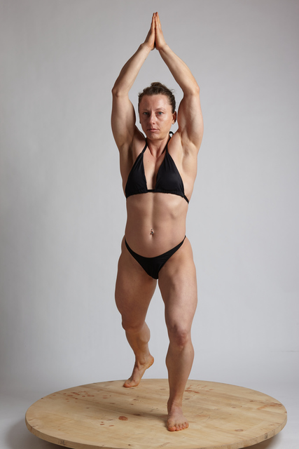 Woman Adult Muscular White Fitness poses Standing poses Underwear
