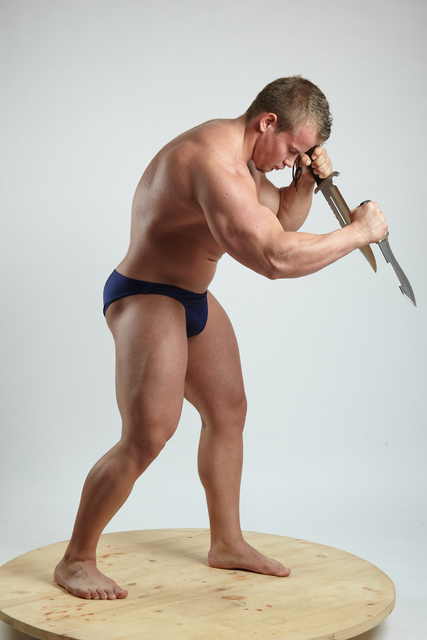 Man Adult Muscular White Fighting with knife Standing poses Underwear