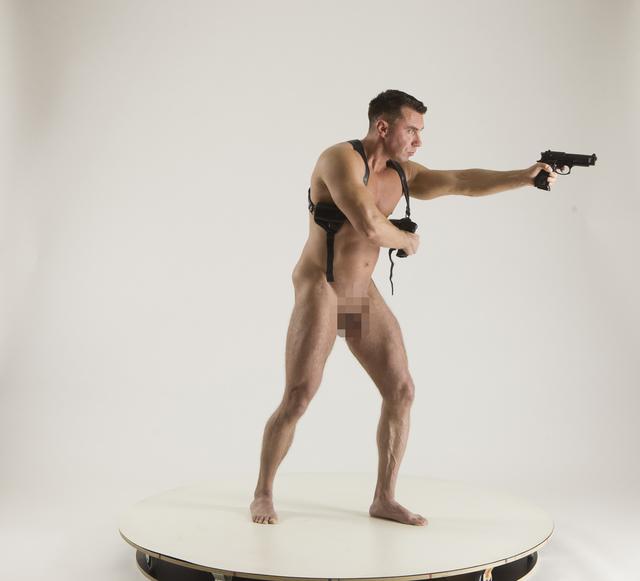 Man Adult Muscular White Fighting with gun Sitting poses Underwear