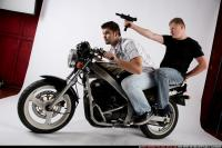 BIKERS RIDING SHOOTING UZI 02