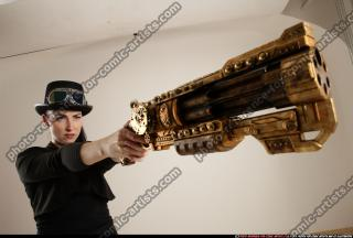 2017 02 CLAUDIA STEAMPUNK BLASTER RIFLE POSE1 AIMING 12