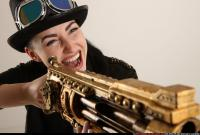 2017 03 CLAUDIA STEAMPUNK BLASTER RIFLE POSE1 SHOOTING 11