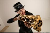 2017 03 CLAUDIA STEAMPUNK BLASTER RIFLE POSE1 SHOOTING 12